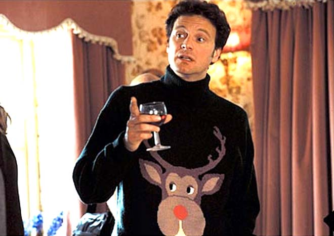Colin Firth in Bridget Jones film wearing a Xmas Jumper