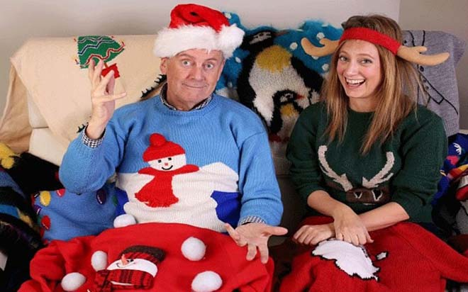 Gyles Brandreth in a Xmas Jumper