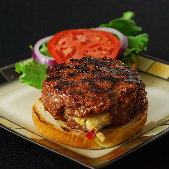 Cheese stuffed burger